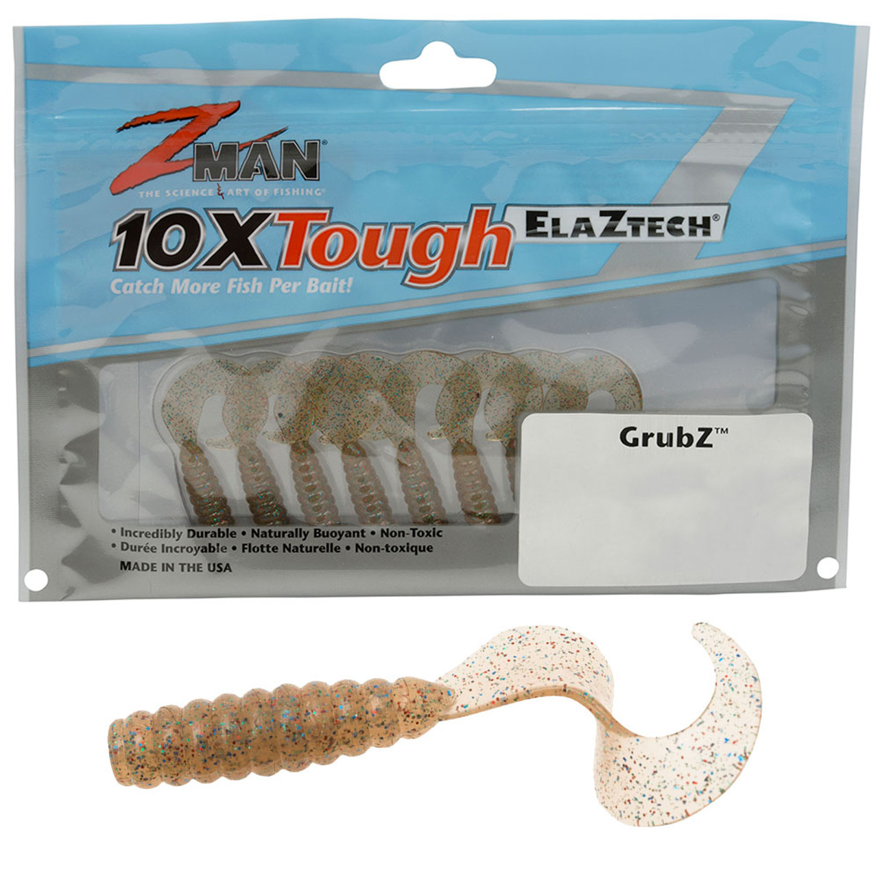 """Z-Man GrubZ 2/"""" Zman Soft Plastic Curly Tail Pack of 8 Shimmer Pearl"""