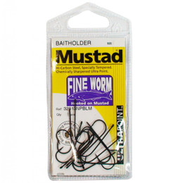 Mustad Fine Worm Fishing Hooks Single Packet
