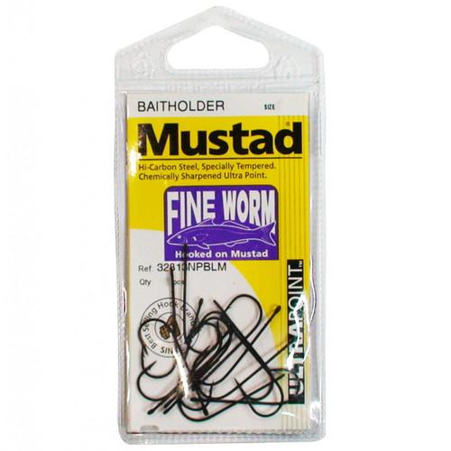 Mustad Fine Worm Fishing Hooks Single Packet