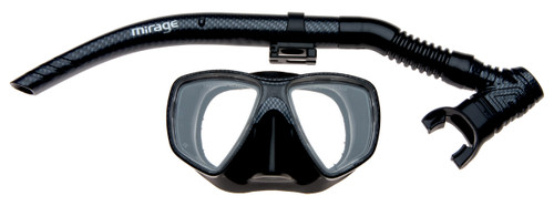 Mirage Black Carbon mask and snorkel silicone