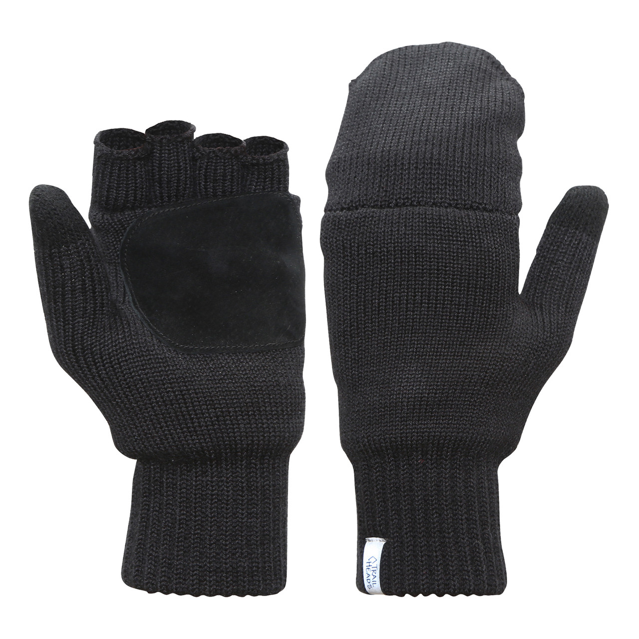 Winter Warm Mittens Convertible Fingerless Gloves Wool Knit Half-Finger Gloves for Ladies with Mittens Cover Cap Womens Gloves Fingerless Mittens