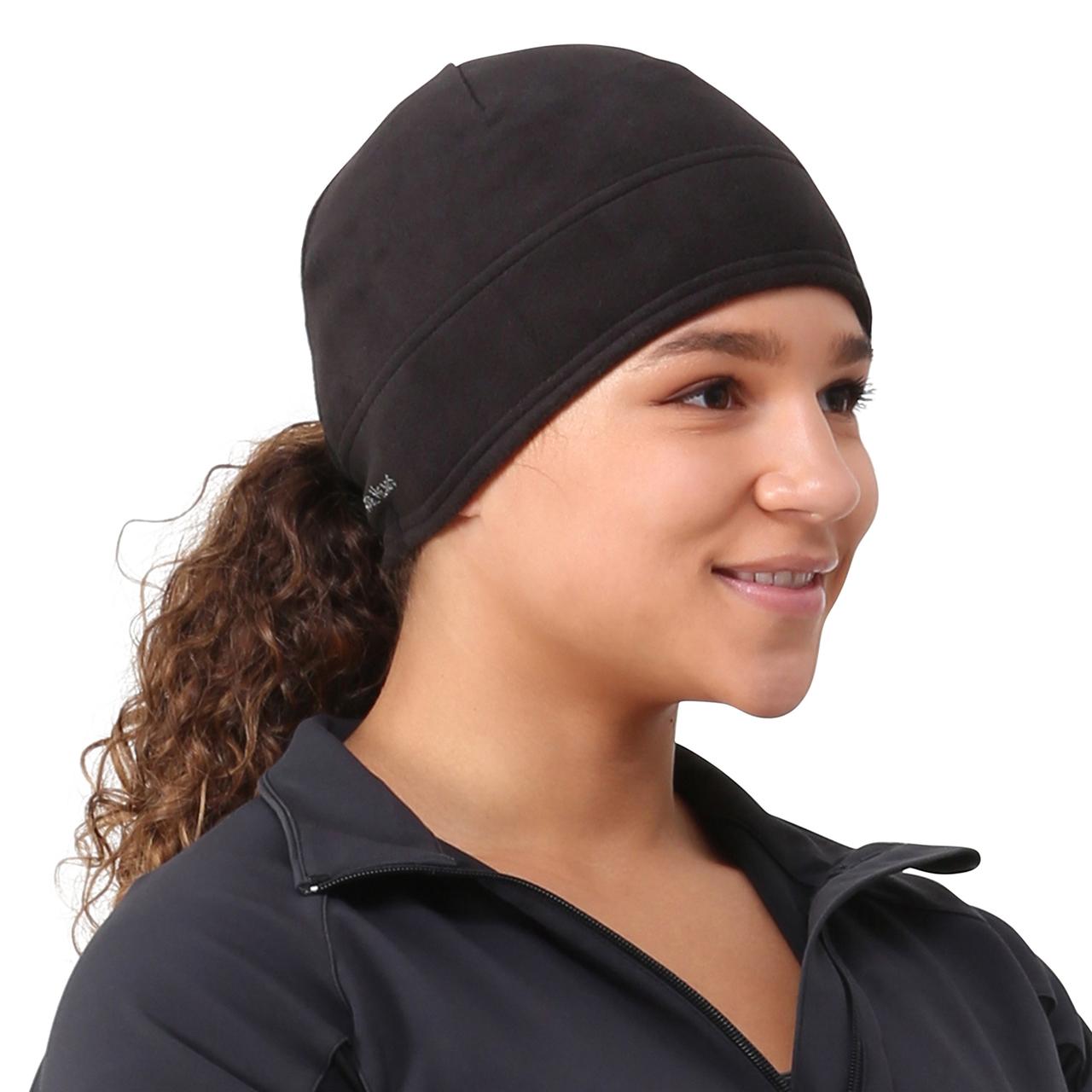 TrailHeads Women s Microfleece Ponytail Hat - solid black af91fccde95