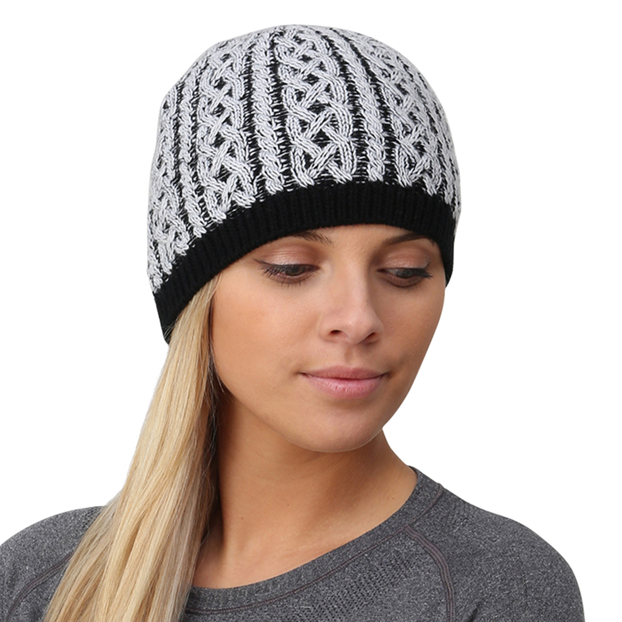 04d3c5efdfe TrailHeads Cable Knit Women s Winter Beanie - black   white