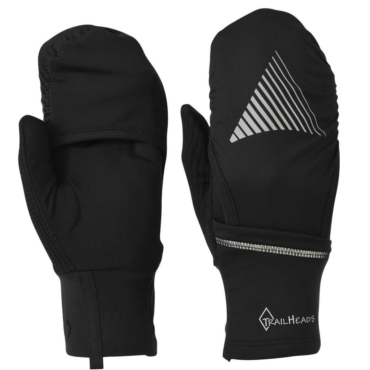 437a057a69c TrailHeads Convertible Running Gloves - black   reflective