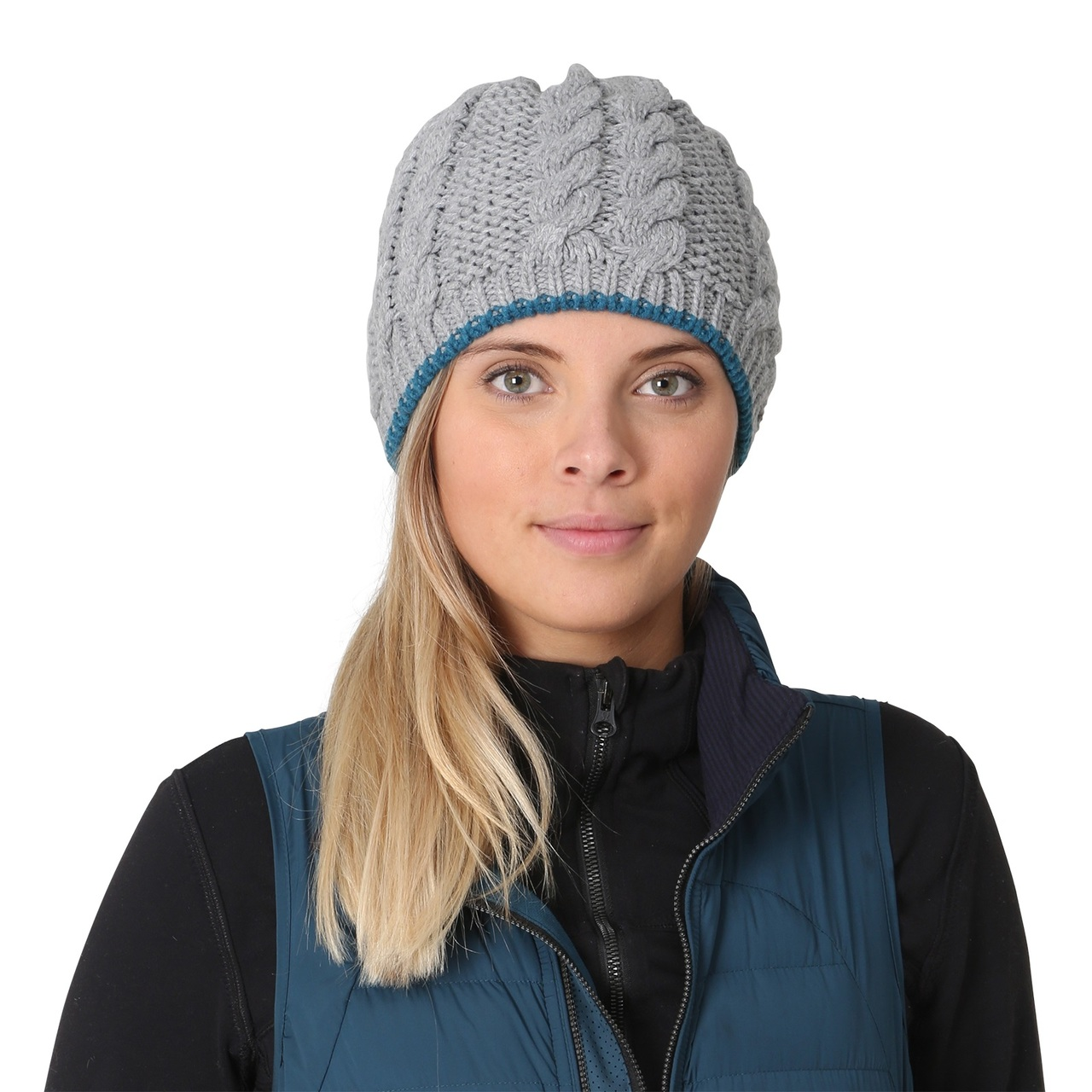 ... TrailHeads Women s Cable Knit Beanie with Fleece Lining · storm grey -  blue spruce 2d587d64301