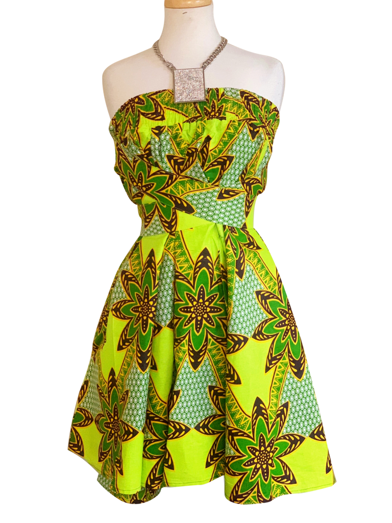 A Twist Of Lime - African Print Mid-Length Skirt