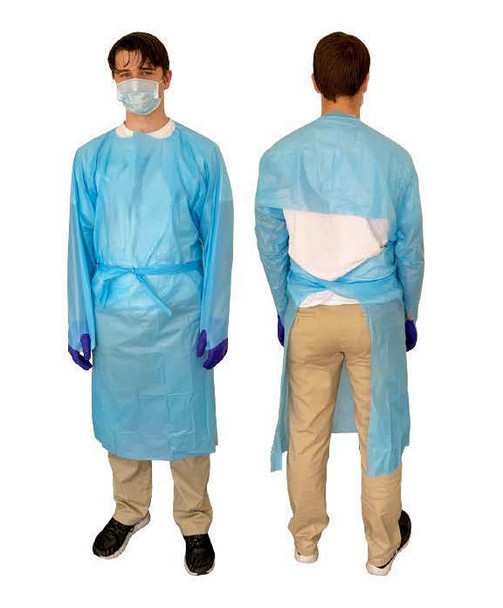 LabAid Fluid-Impervious Polypropylene Gown Coverall, Thumb Loop, One size fits all