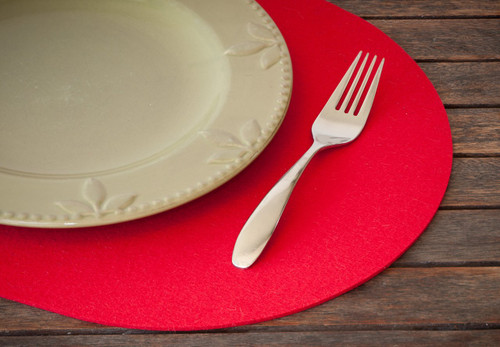 Oval Felt Placemats, Cardinal Red