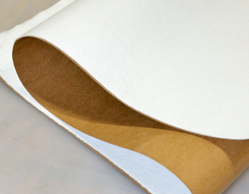 """White Polyester, Adhesive-Backed, 1/4"""" thick (6.35mm) Thick x 60"""" Wide, Medium-Firm Density - 2 Yard Minimum"""