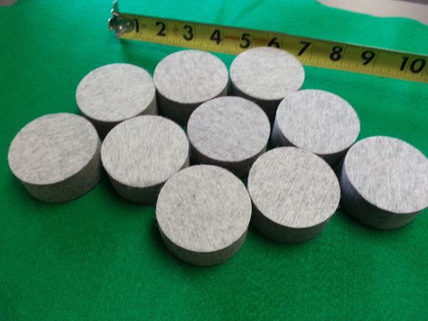 """Extra Firm Wool Sheet Felt Circles - Grey - 2.25"""" Diameter X 1"""" Thick - (Quantity - 10)  $29.99 For all of them!"""