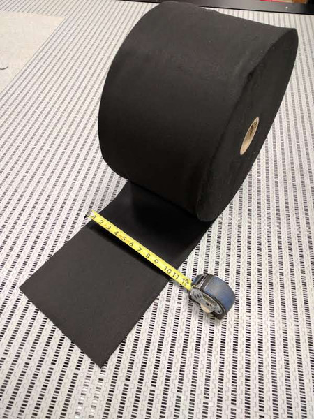 """Black Polyester Felt Roll 10"""" wide x 300' long x 1/16"""" thick  $49.99"""