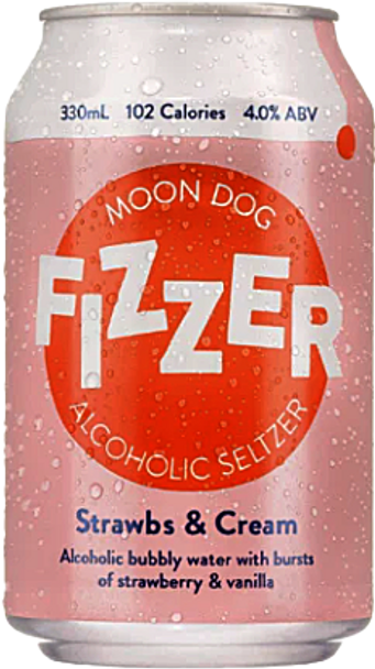Moon Dog Fizzer Alcoholic Seltzer Strawbs Cream Cans 330ml