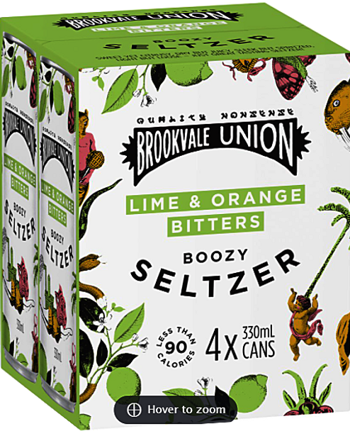 Brookvale Union Lime & Orange Bitters Seltzer Can 330ml x 16