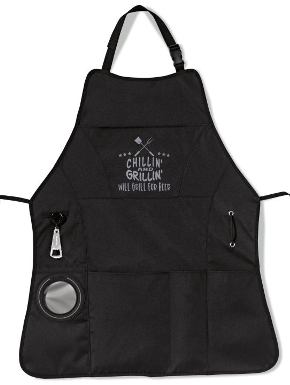 Will Grill For Beer BBQ Apron in Black