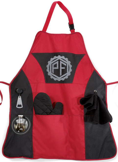 Red BBQ Apron with Silver Monogram
