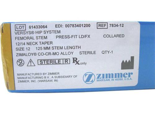 Booth Medical - Versys Hip System, Femoral Stem, Press Fit LD/FX, Size 12 - 7834-12