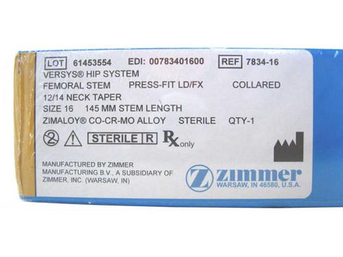 Booth Medical - Versys Hip System, Femoral Stem, Press Fit LD/FX, Size 16 - 7834-16
