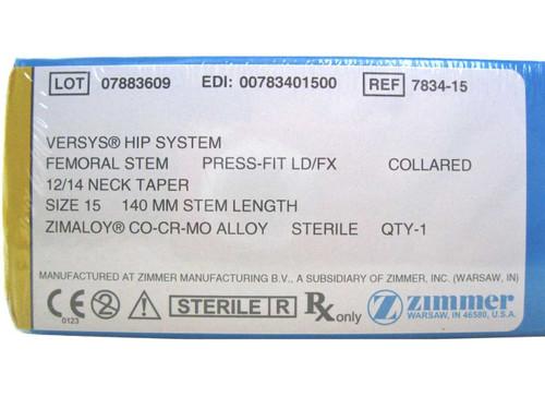 Booth Medical - Versys Hip System, Femoral Stem, Press Fit LD/FX, Size 15 - 7834-15