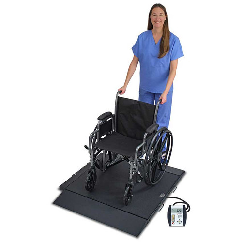 Detecto 6400 Portable Wheelchair Scale  - With Chair - Side View