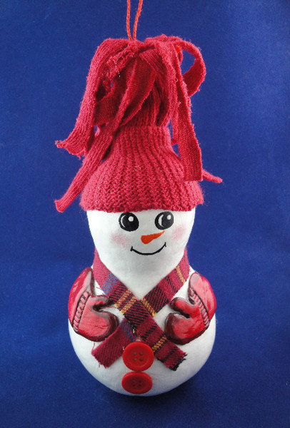 Hand-painted gourd snowman. Made in New York.