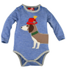 "Baby Onesie Long Sleeve "" Waldi"" Stripe Blue/Grey"