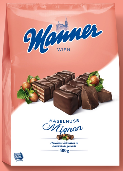 Manner Haselnuss-Mignon - Chocolate Covered Hazelnut Wafers 14oz