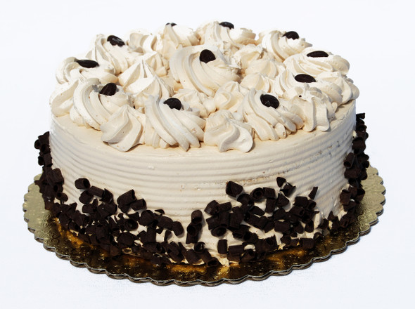 This exquisite cake is perfect for anyone who loves coffee! Made with deliciously moist white cake, rich vanilla Bavarian cream filling and a superb coffee mousse. It is then enveloped with coffee mousse, imported mocha beans and finished with dark chocolate sprinkles around the sides. Serves 8-10 people