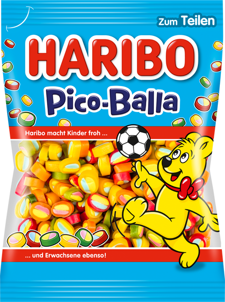 Pico-Balla At HARIBO Pico-Balla everything fits: fruit gum to confectionery, red to green or lemon to strawberry. Combine it crazy and try it out - that is what HARIBO Pico-Balla is all about. And above all, it ensures one thing: the ultimate taste explosion.