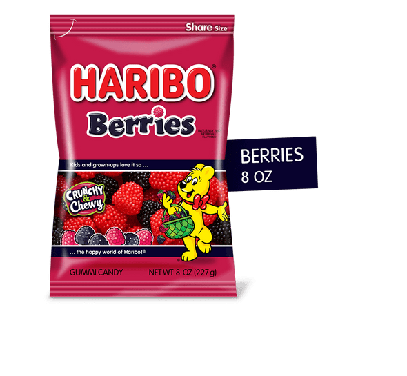 Haribo Red & Black Rasberry Gummies 8oz