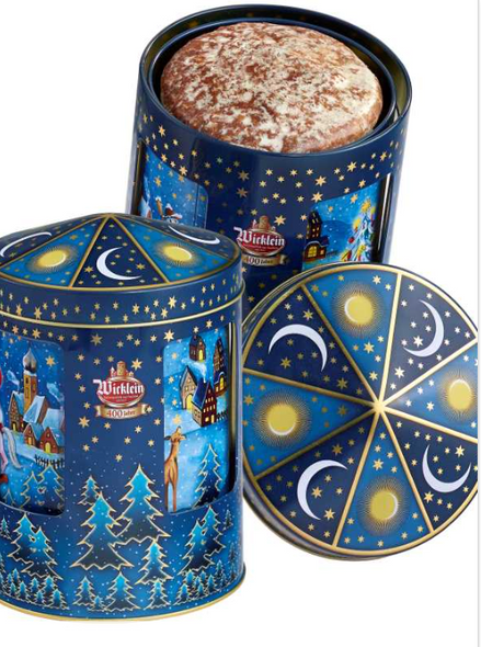 Wicklein Lebkuchen Musical Spinning Christmas Tin with Gingerbread 7.05 oz  (200g)