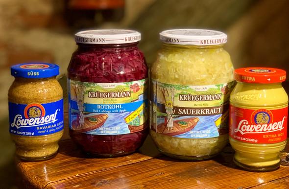 Krüegermann & Lowensenf 4 Pack Bundle Red Cabbage/Sauerkraut/ Bavarian & Extra Hot Mustard