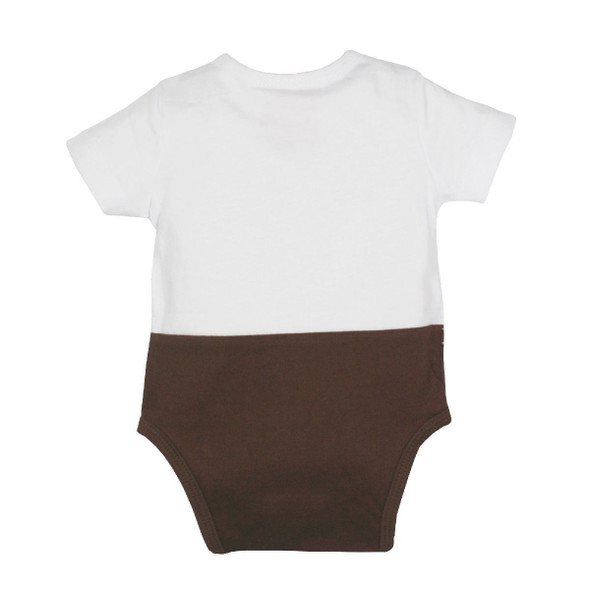 Baby Onesie Body 'Suspenders' Brown