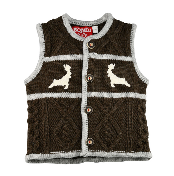 "Baby Knitted Sweater Vest ""Deer"" Brown"