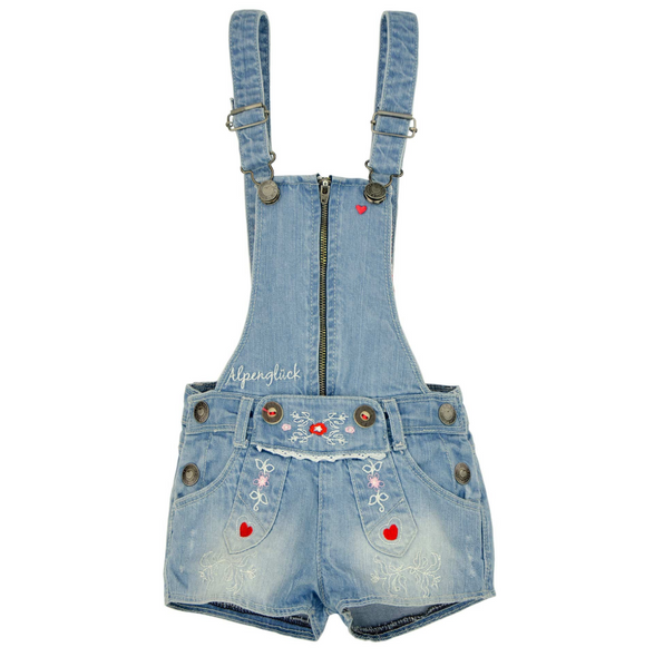 Girls Trachten Latzshort Blue Denim Coveralls