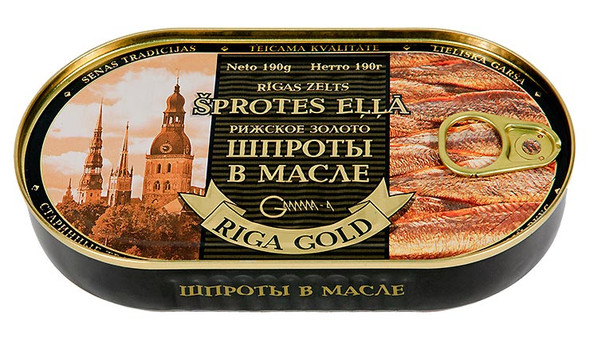 Riga Gold Smoked Sprats in Oil (Easy Opener) 190g