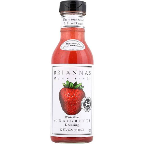 Briannas Dressing The Briannas Blush Wine Vinaigrette is a home style dressing made in small batches from high quality ingredients. This sweet-tangy all natural salad dressing is vegan, gluten free and contains no MSG. The bulk case is ideal for supermarkets, grocery stores and convenience stores. Vinaigrette Dressings Blush wine vinaigrette dressing Pairs well with fresh strawberries Refrigerate after opening Gluten free HFCS free No added MSG Kosher certified 0 g trans fat 12 fl.oz. (355 ml) BRIANNA'S HOME STYLE BLUSH WINE VINAIGRETTE DRESSING IS CRAFTED IN SMALL BATCHES FROM FINE INGREDIENTS TO ENSURE QUALITY AND TASTE. BOASTING A DELICIOUSLY RICH SWEET AND SOUR TANG, THIS DRESSING IS A TERRIFIC ACCOMPANIMENT TO YOUR HAND-TOSSED GARDEN SALAD. YOU CAN EVEN DRIZZLE SOME OF THIS GLUTEN-FREE, VEGAN DRESSING OVER FRESHLY PICKED STRAWBERRIES FOR A SIMPLE DESSERT WITH COMPLEX FLAVOR. THIS BOTTLE CONTAINS 12 FL. OZ. OF SALAD DRESSING. MADE WITHOUT HIGH-FRUCTOSE CORN SYRUP OR MSG; NO CHOLESTEROL; OU CERTIFIED KOSHER; ZERO TRANS FAT;ONE 12 FL. OZ. BOTTLE OF BLUSH WINE VINAIGRETTE DRESSING
