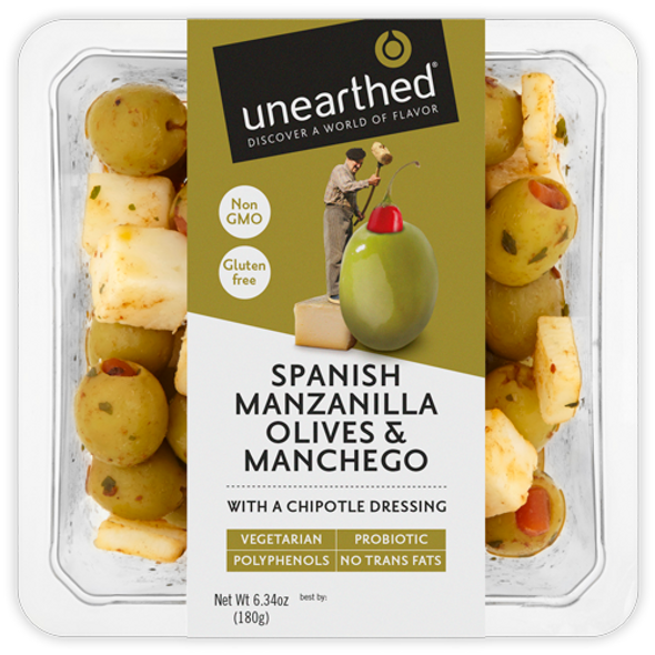 Unearthed Spanish Manzanilla Olives & Manchego 6.7 oz (Refrigerated)