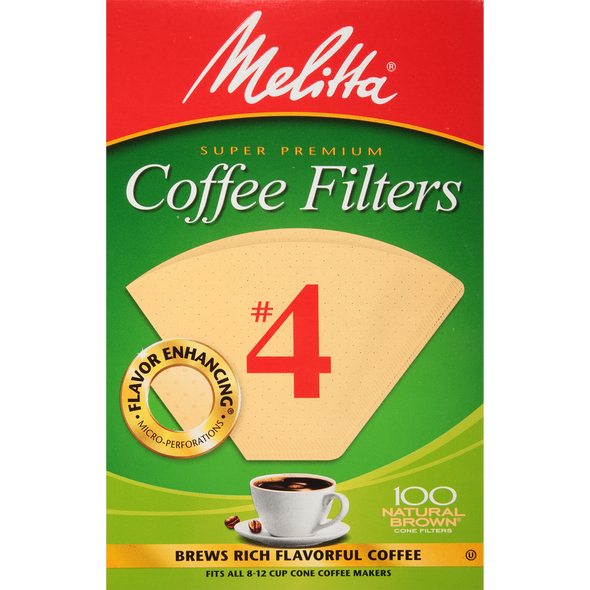 Melitta #4 Natural Brown Coffee Filter 100 pcs.