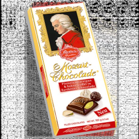Reber Mozart Dark Chocolade, Marizpan & Cream Truffle Bar 100g