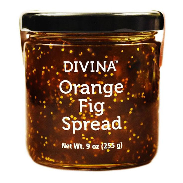 Divina Orange Fig Spread 255g   Crafted from Aegean figs, this classic Mediterranean spread is rich and complex with notes of honey, caramel, and orange. Even better: It's allergen-free, non-GMO and made with just a handful of all-natural ingredients: figs, pure cane sugar, oranges, citric acid, and fruit pectin. Spread some over brie cheese over a toasted piece of bread for an appetizer you won't soon forget. Shelf life is 36 months.