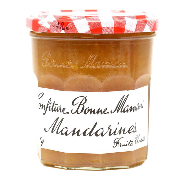 Bonne Maman Confiture Mandarines 13oz   Bonne Maman's Mandarin Jam uses non-GMO ingredients to create this uniquely sweet, tangy and tart taste. This classic French citrus jam can accentuate breakfast or enhance the the flavor profile of any meal.  Gluten-Free No artificial coloring or preservatives added Comes in a 370g jar