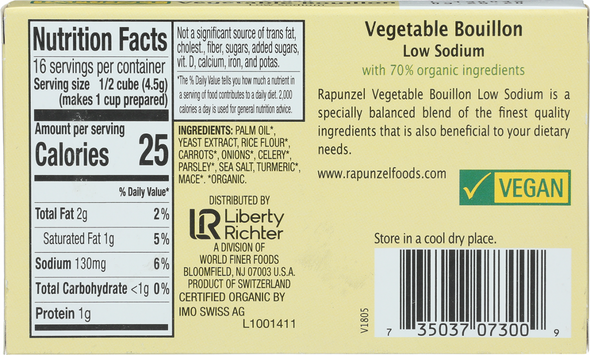 Rapunzel Low Sodium Vegetable Bouillon makes for a full-flavored base for soups, sauces, stir-fries, and casseroles. With this versatile product you get to add salt to taste (or leave it out altogether). Rapunzel Low Sodium Vegetable Bouillon is made with organic ingredients and is suitable for Vegans.  INGREDIENTS: PALM OIL*, YEAST EXTRACT, RICE FLOUR*, CARROTS*, ONIONS*, CELERY*, PARSLEY*, SEA SALT, TURMERIC*, MACE*. *ORGANIC.