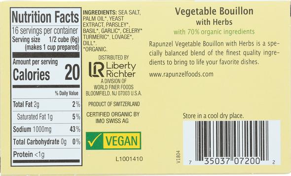 Rapunzel Vegetable Bouillon with Herbs 8 cubes (3.1oz)