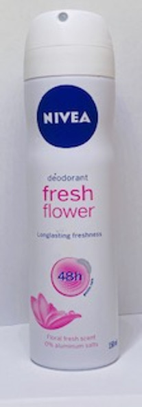 The Fresh Flower deodorant with feminine rose, violet and mandarin fragrance will keep you feeling fresh and clean all day long. The quick-drying formula is lightweight and offers up to 48Hrs of NIVEA deodorising protection.    Floral rose scent  0% Aluminium (ACH)  Quick Dry  48h effective deodorant protection   Skin tolerance dermatologically tested