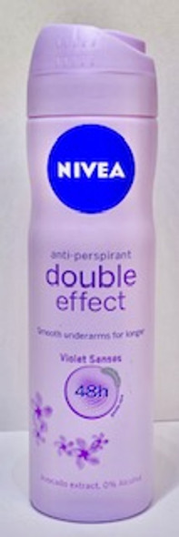 Nivea Anti - Perspirant Double Effect Violet Senses 150ml 5oz   NIVEA Double Effect Anti-Perspirant Deodorant offers both, effective protection and smooth underarms for longer. The double effect formula allows for a closer shave by keeping skin smooth and soft while keeping you fully protected against perspiration. It protects you for 48 hours against sweat and body odour with its caring ingredients for soft feeling skin. The deodorant is skin tolerance dermatologically approved and is completely alcohol-free so it is also very gentle on your skin.