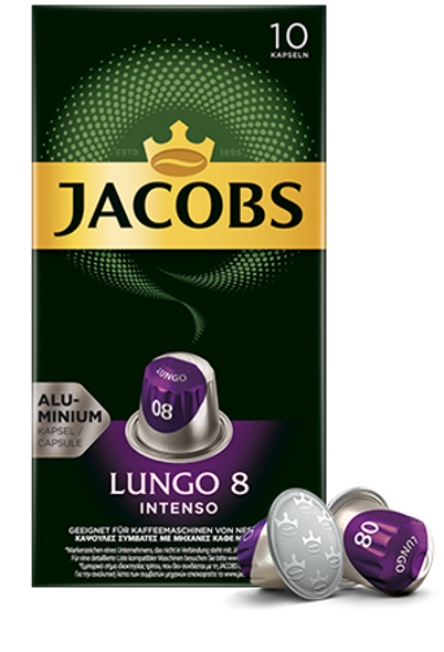 The heart of the Jacobs Lungo 8 Intenso espresso capsules is the interplay of high-quality arabica with an intense robusta. This is how this blend unfolds its intense, hearty and deep note.     The new Jacobs aluminum capsules have been developed for Nespresso ® * capsule coffee machines . The high-quality aluminum coffee capsule enables the aroma to be better preserved.     Jacobs Lungo 8 Intenso espresso capsules are available in packs of 10 and 20.     * Trademark of a company that is not associated with JACOBS DOUWE EGBERTS.  content 10 capsules, 20 capsules  Recommended portion size Jacobs Lungo 8 Intenso filling quantity