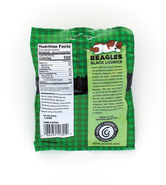 Gustaf's Beagles Black Licorice 5.29oz