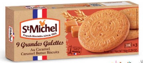 St Michel 9 Grandes Caramel  Butter Cookies 5.29oz (150g)