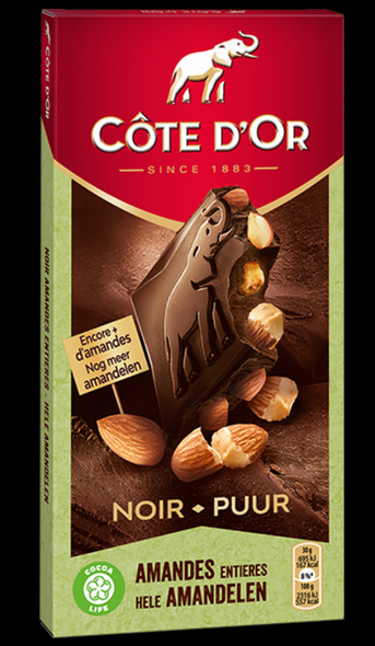 he explosive encounter of delicious whole almonds and intense Côte d'Or dark chocolate. An instinctive and powerful blend.