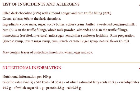 Reber Confiserie Chocolade Mandelnougat Rumtruffel 100g